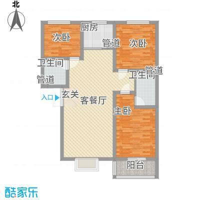 富丽广场114.00㎡D2户型3室2厅2卫1厨