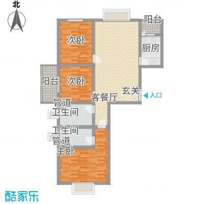 万聚鑫盛苑131.44㎡一期标准层E户型3室2厅2卫1厨