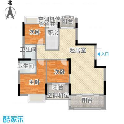 联泰香域滨江桥郡112.00㎡11#楼C8户型3室2厅2卫1厨