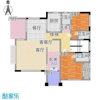 黄金海岸D1户型首层平面图户型2室2厅3卫-副本