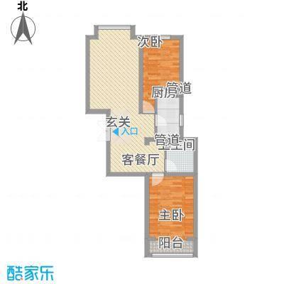 荣盛锦绣花苑87.73㎡4#标准层户型2室2厅1卫1厨