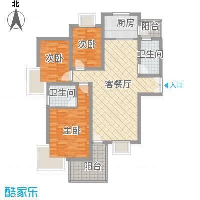阳光枫情12.00㎡二期高层1号楼D户型3室2厅2卫1厨