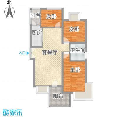 阳光枫情6.00㎡二期高层1号楼F户型3室2厅2卫1厨