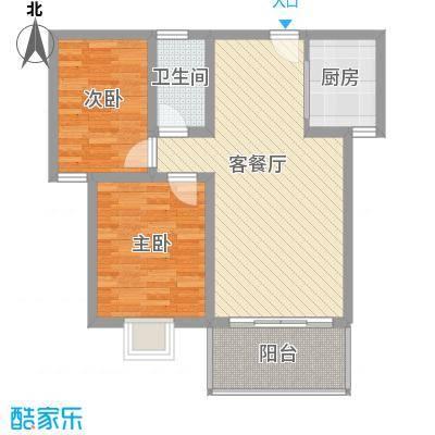 阳光枫情82.00㎡二期高层1号楼E户型2室2厅1卫1厨