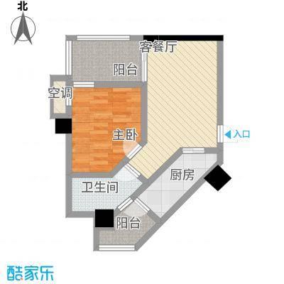 华鼎雍王府55.37㎡F户型1室1厅1卫1厨