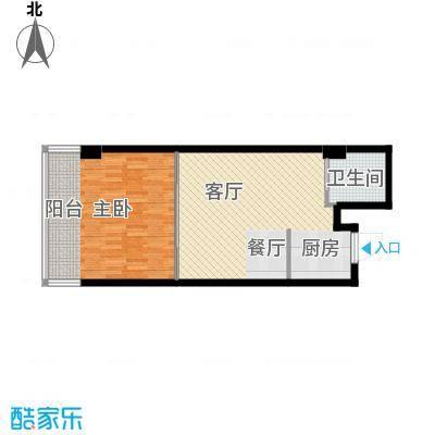 中京城61.28㎡D户型1室1厅1卫1厨