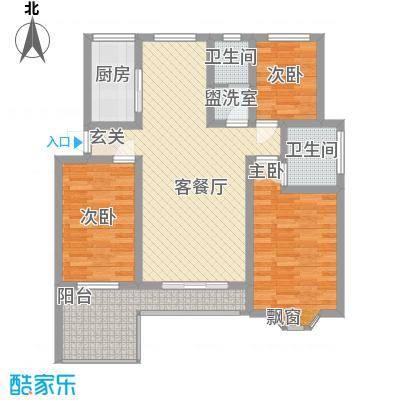 金水源115.00㎡一期8#楼标准层B户型3室2厅2卫1厨