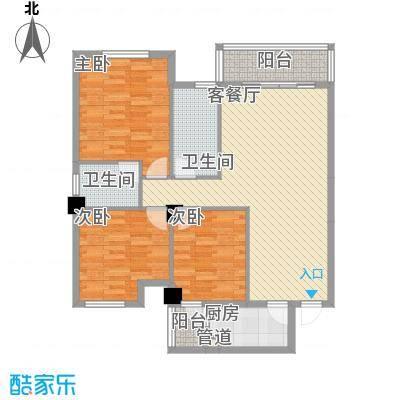 东都国际111.40㎡一期8号楼2单元1-18层J户型3室2厅2卫1厨