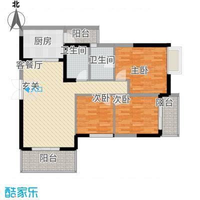 清风华园16.70㎡C1户型3室2厅2卫1厨