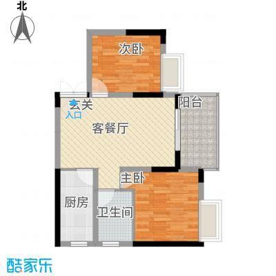 清风华园77.78㎡A2户型2室2厅1卫1厨