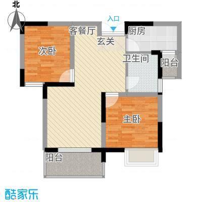 清风华园82.61㎡B1户型2室2厅1卫1厨