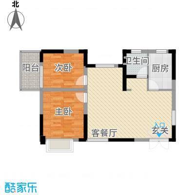 清风华园86.48㎡A1户型2室2厅1卫1厨