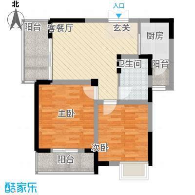 清风华园76.60㎡A3户型2室2厅1卫1厨