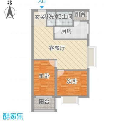 华翔世纪城85.58㎡D2户型2室2厅1卫1厨