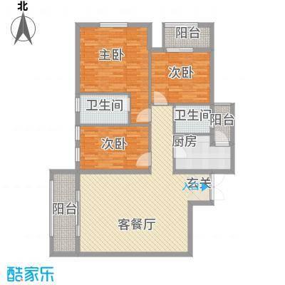 时代广场小区户型2室2厅1卫1厨