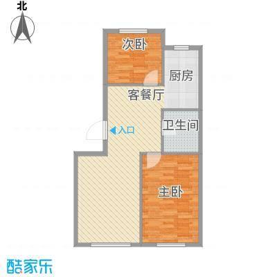 西山林语81.00㎡一期12、13号楼标准层B12&13户型2室2厅1卫1厨