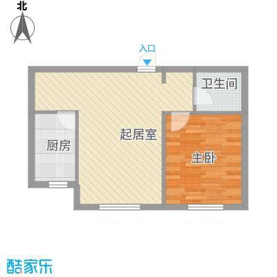 峰云印象55.00㎡一期多层1#1、3单元标准层A户型1室1厅1卫1厨