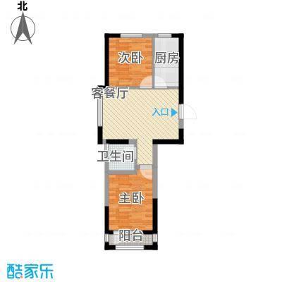 龙潭官邸73.00㎡高层D座1-2单元标准层K1户型2室2厅1卫