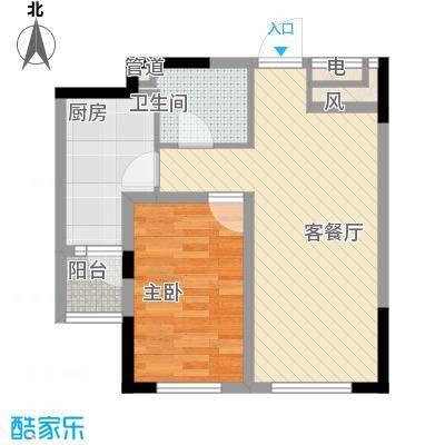 龙潭官邸66.00㎡高层D座1-2单元标准层K1户型1室2厅1卫