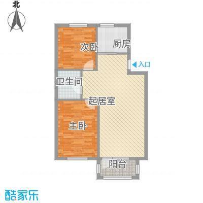 峰云印象7.00㎡一期多层1#2单元2-4#1单元标准层C户型2室1厅1卫1厨