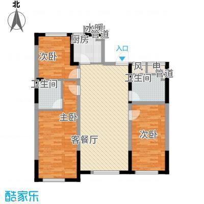 龙潭官邸16.00㎡小高层A座1单元标准层C1户型3室2厅2卫