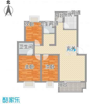 美林湾四和苑114.70㎡一期多层12#楼标准层H户型3室2厅2卫