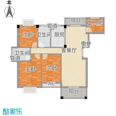 江南世家13.00㎡一期多层52#标准层A1户型4室2厅2卫1厨