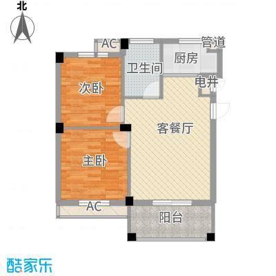 江南世家74.00㎡一期多层52#标准层B户型2室1厅1卫1厨