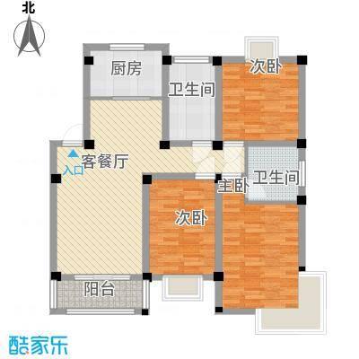 世纪名门121.60㎡二期高层C013F户型3室2厅2卫1厨