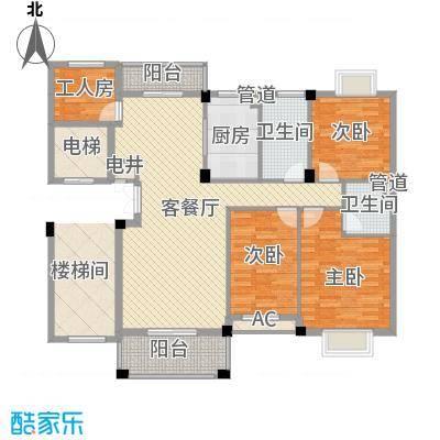 江南世家13.00㎡一期多层52#标准层A2户型4室2厅2卫1厨