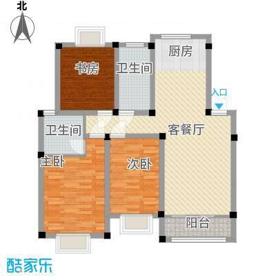 世纪名门117.82㎡二期高层C023F户型3室2厅2卫1厨