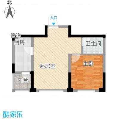 绿地福林6.00㎡标准层D户型1室2厅1卫1厨
