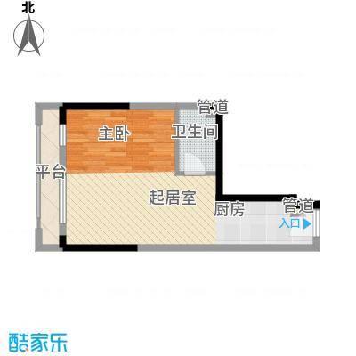 筑石银座45.40㎡A7户型1室1厅1卫1厨