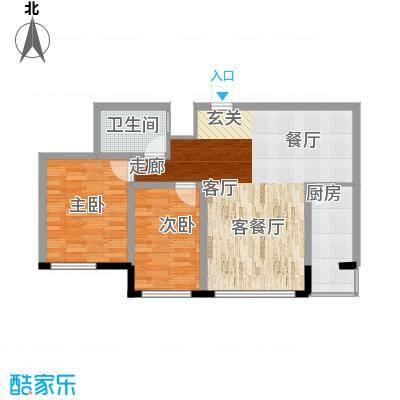 天鸿嘉园11.00㎡1#2#楼户型2室1厅1卫1厨