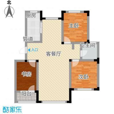 绿地福林标准层B1户型3室2厅1卫1厨
