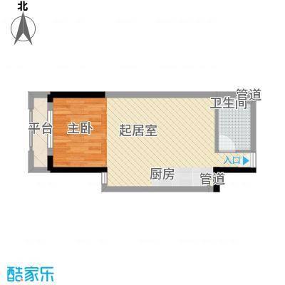 筑石银座48.20㎡A3户型1室1厅1卫1厨