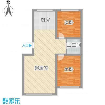 鸿博颐景花园77.00㎡6791011号楼标准层C户型2室2厅1卫1厨
