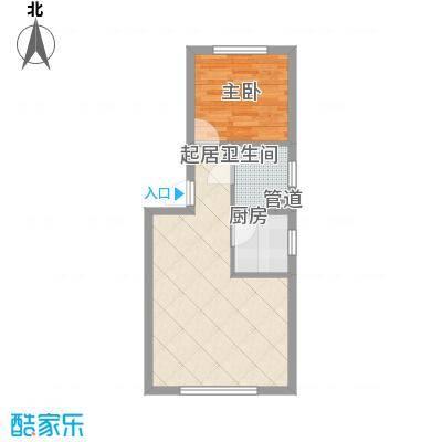 华隆雾凇福苑55.40㎡B户型1室2厅1卫1厨