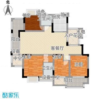 亚东朴园168.00㎡21、22号楼E2户型4室2厅2卫1厨