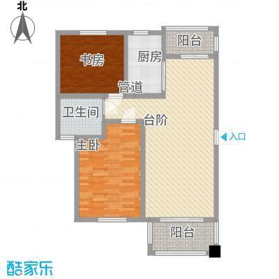 城开国际学园85.48㎡D2-a户型2室2厅1卫1厨