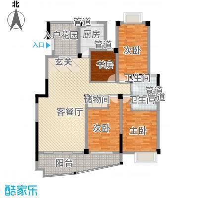 沃得花园183.00㎡二期小高层10#楼标准层L户型4室2厅2卫1厨