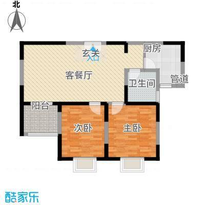 我家山水12.00㎡二期高层公寓5栋C1F户型2室2厅1卫1厨