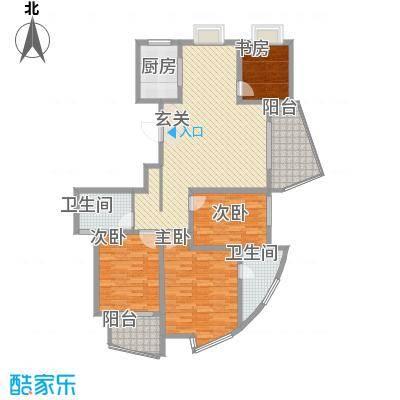 江南人家155.00㎡二期多层G1标准层户型4室2厅2卫1厨