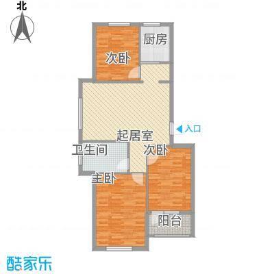 峰云印象一期多层6#7#3单元标准层E户型3室1厅1卫1厨