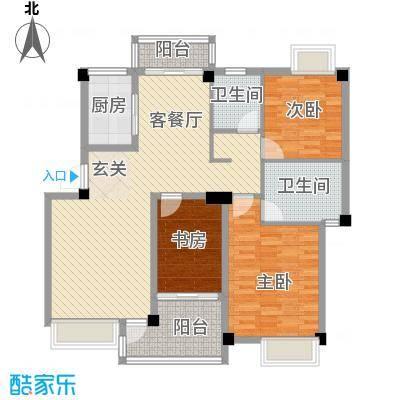 沃得城市中心123.30㎡二期高层B21F户型3室2厅2卫1厨