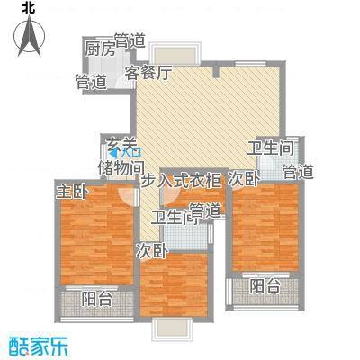 金桂坊131.24㎡二期商务楼A1F户型3室2厅2卫1厨