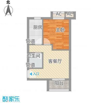顶秀欣园51.33㎡H2/A户型1室1厅1卫