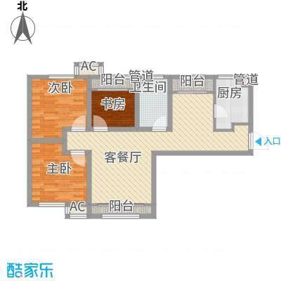 融创洞庭路壹号8、14、15、21号楼标准层B1户型