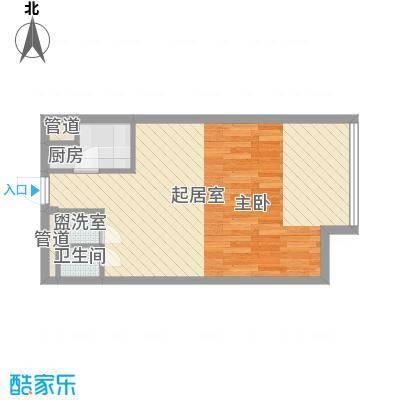 昆仑中心5.00㎡一期1号楼标准层H户型1室2厅1卫1厨