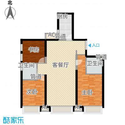 振业城中央13.00㎡高层1号楼标准层H户型3室2厅2卫1厨
